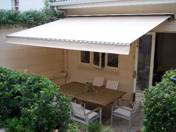 white awning in backyard